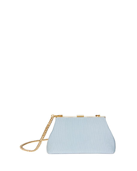 Mansur Gavriel Mini Volume Grosgrain Clutch, Sky Blue