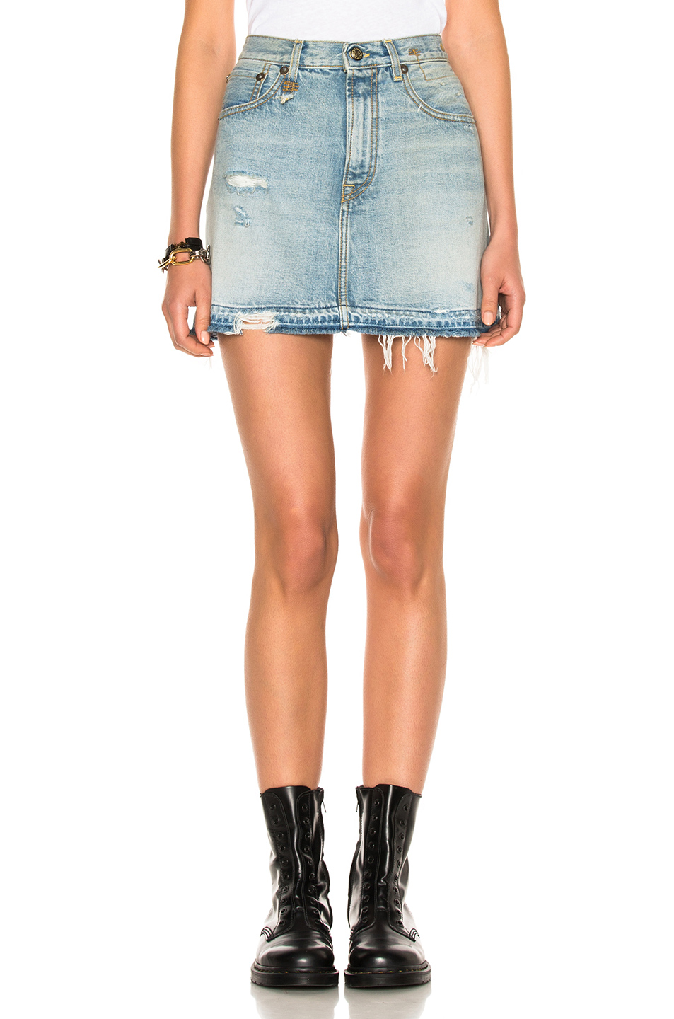 R13 For Fwrd Exclusive High Rise Destroyed Mini Skirt In Blue