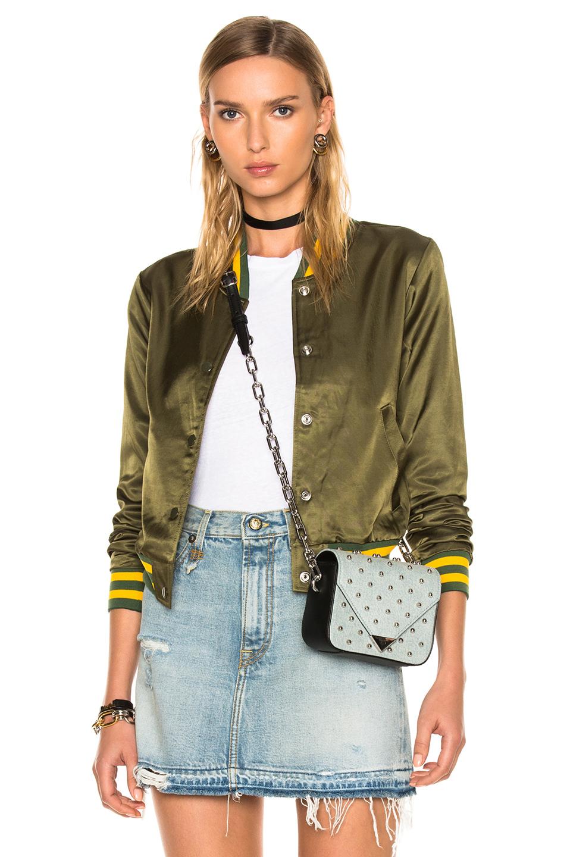 R13 For Fwrd Exclusive Shrunken Roadie Jacket In Green,Stripes,Yellow