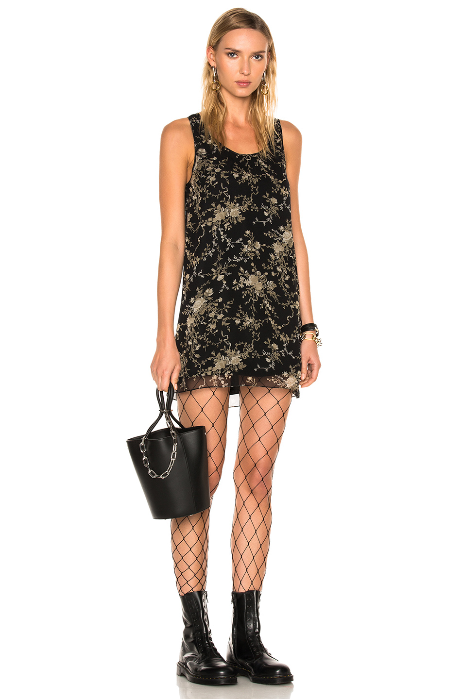 R13 For Fwrd Exclusive Mini Tank Dress In Black,Floral,Neutrals