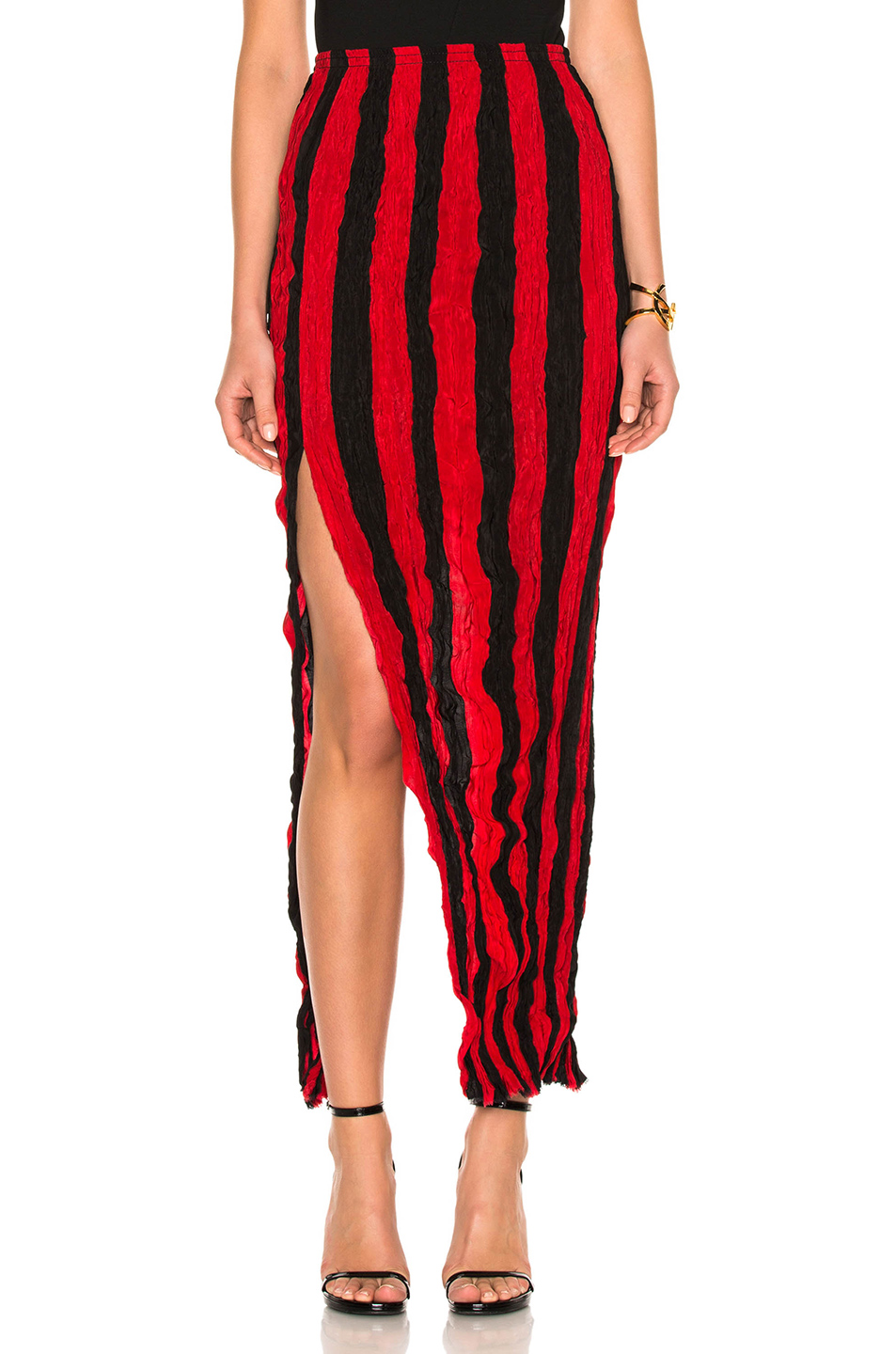 Juan Carlos Obando Crushed Ankle Length Skirt In Red,Stripes