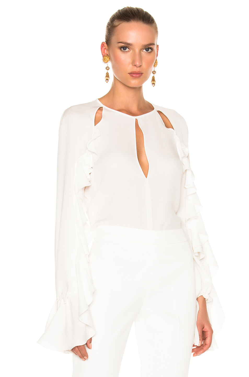 Giambattista Valli Ruffled Cutout Silk Crepe De Chine Top In White