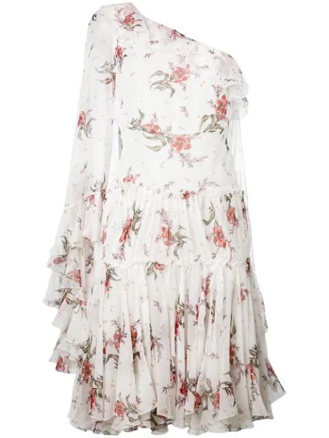 Giambattista Valli One Shoulder Mini Dress In Floral, White.