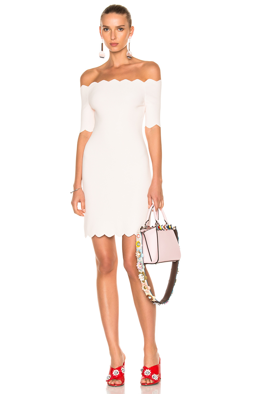 Fendi Scallop Off-Shoulder Dress In Pink,White