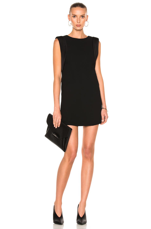Brandon Maxwell Sleeveless Piped Arm Mini Dress In Black