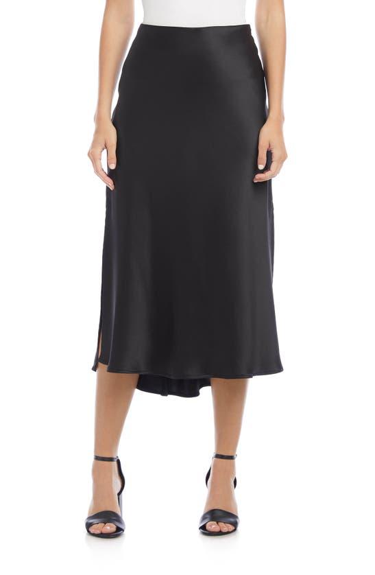 Karen Kane Side Slit Bias Cut Midi Skirt In Black