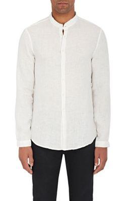John Varvatos Striped Cotton Tunic Shirt - Light Gray