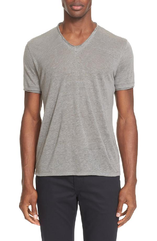 John Varvatos V-Neck Linen T-Shirt In Pewter