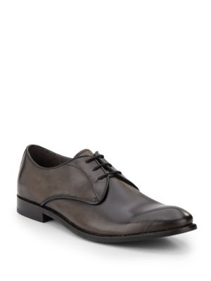 John Varvatos Hallowell Leather Oxfords In Lead