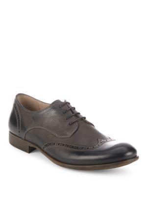 John Varvatos Lace-Up Leather Oxfords In Black