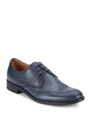 John Varvatos Sid Chain Leather Derby Shoes In Charcoal