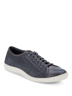 John Varvatos Hattan Canvas & Leather Sneakers In Lead