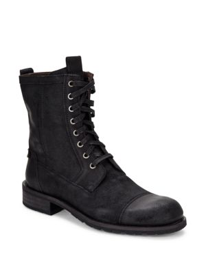 John Varvatos Round Toe Lace-Up Leather Boots In Black