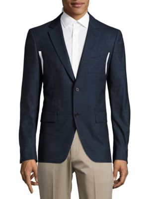 John Varvatos Wool Blend Sportcoat In Indigo