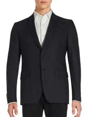 John Varvatos Hampton Checkered Wool Blend Sportcoat In Black