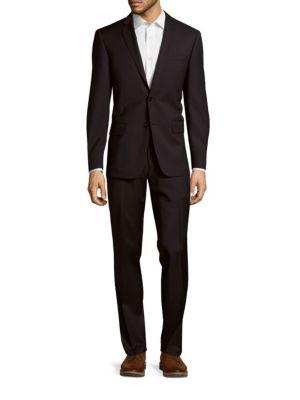 John Varvatos Soild Woolen Suit In Navy