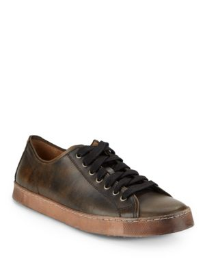 John Varvatos Mick Heritage Mottled Leather Sneakers In Distressed