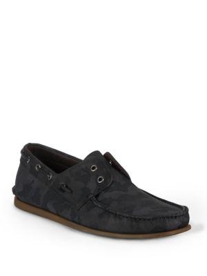 John Varvatos Schooner Round-Toe Boat Shoes In Dark Charcoal