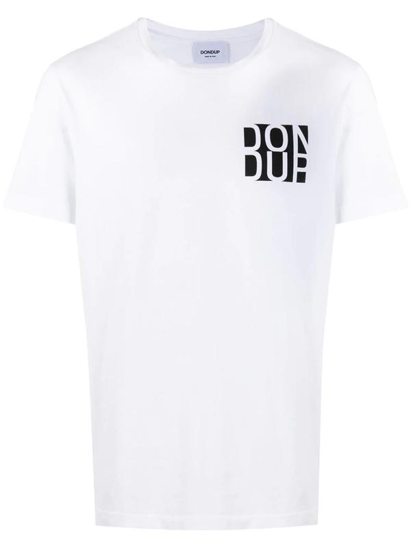 Dondup Short-sleeved Branded T-shirt In White