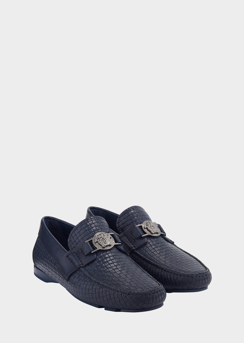 Versace Embossed Weaving Driving Shoes In Blue