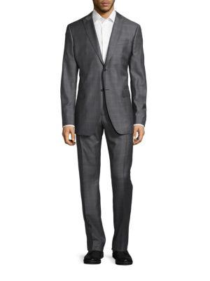 John Varvatos Slim-Fit Hampton Tonal Plaid Wool Suit In Silver Heather