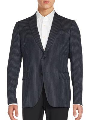 John Varvatos Austin Fit Pinstriped Wool Sportcoat In Navy