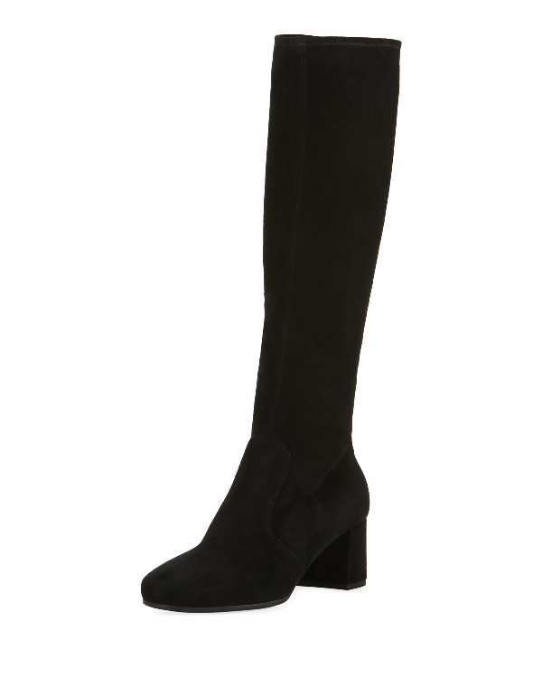 Prada Suede Square-Toe Knee Boot, Black (Nero)