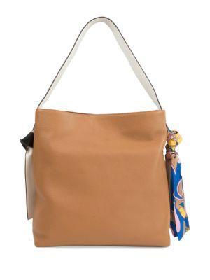 Sam Edelman Cleo Scarf Leather Hobo Bag In Saddle