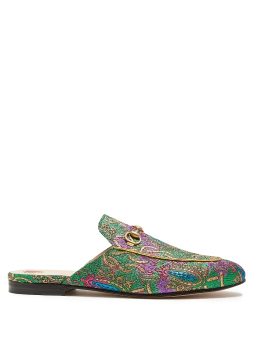dec5a3f1223 Gucci Princetown Chinoiserie Jacquard Slippers In Green Multi