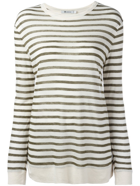 T By Alexander Wang Striped Top In Cream Aed Military
