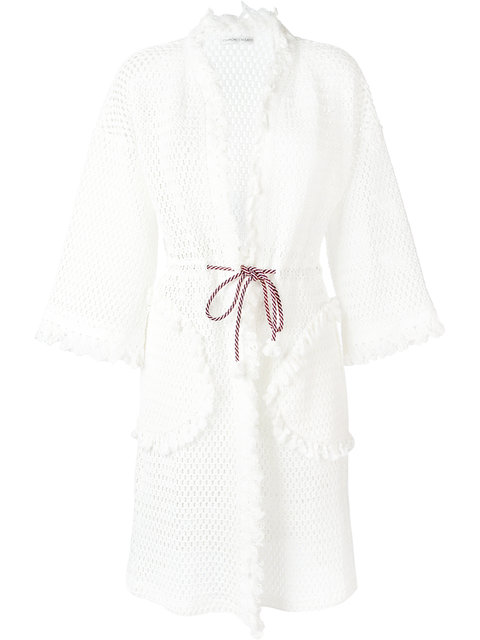 Tsumori Chisato Fringed Open Knit Cardigan Coat In White