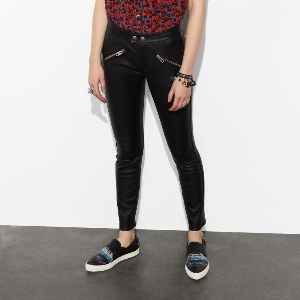 Coach Zip Pocket Leather Pants - Women's In Black