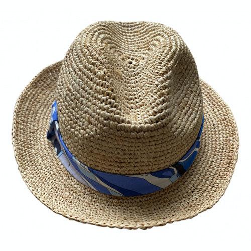 Pre-owned Emilio Pucci Beige Wicker Hat