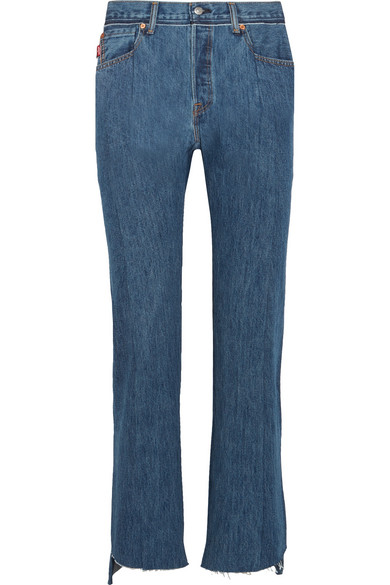 Vetements + Levi's Distressed High-Rise Straight-Leg Jeans In Blue