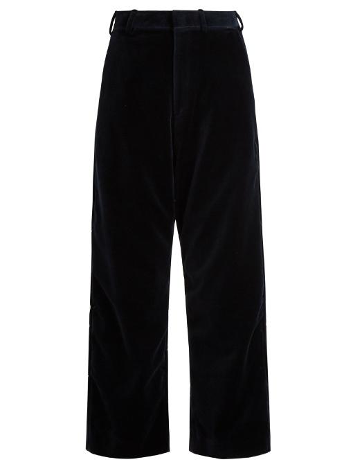 Vetements - X Brioni Wide Leg Velvet Cropped Trousers - Womens - Navy