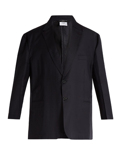 Vetements X Brioni Oversized Single-Breasted Wool Jacket In Navy