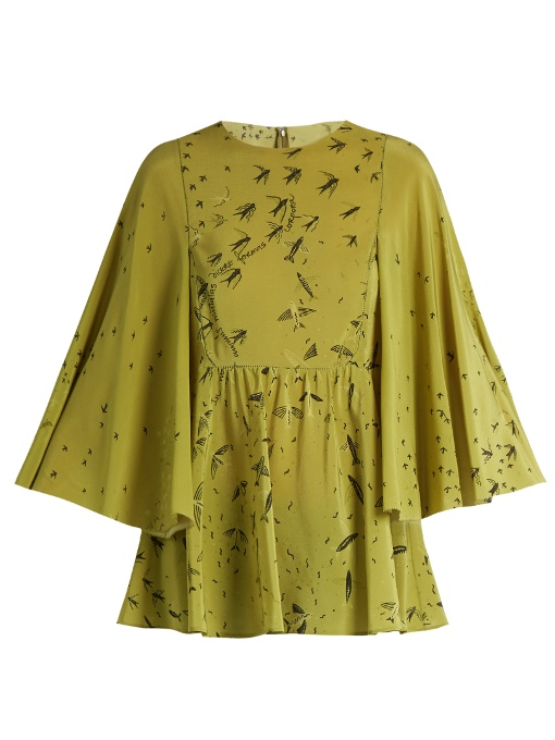 Valentino Swallow Metamorphosis-Print Silk Top In Green Multi