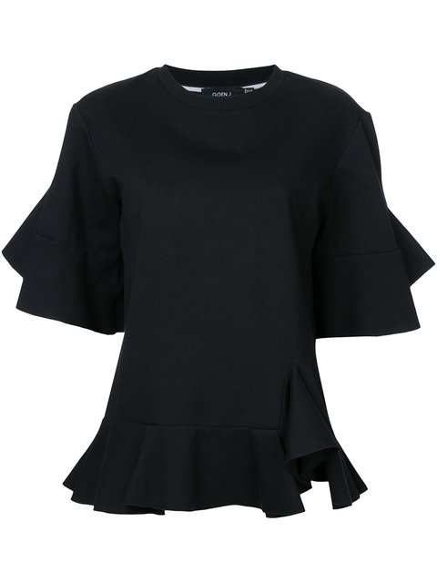 Goen J Goen.J Ruffle Slash T-Shirt - Black