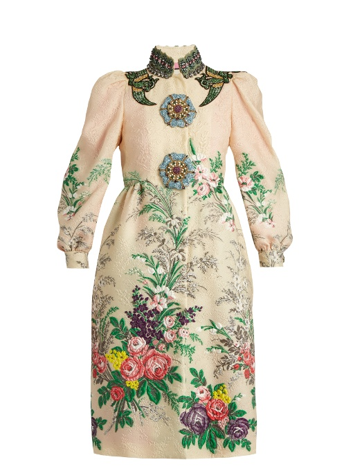 Gucci Embellished Embroidered CloquÉ Coat In Nude-Pink And Cream