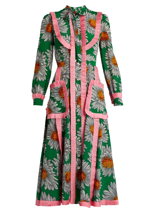 Gucci Daisy-Print Silk Crepe De Chine Midi Dress In Green Print