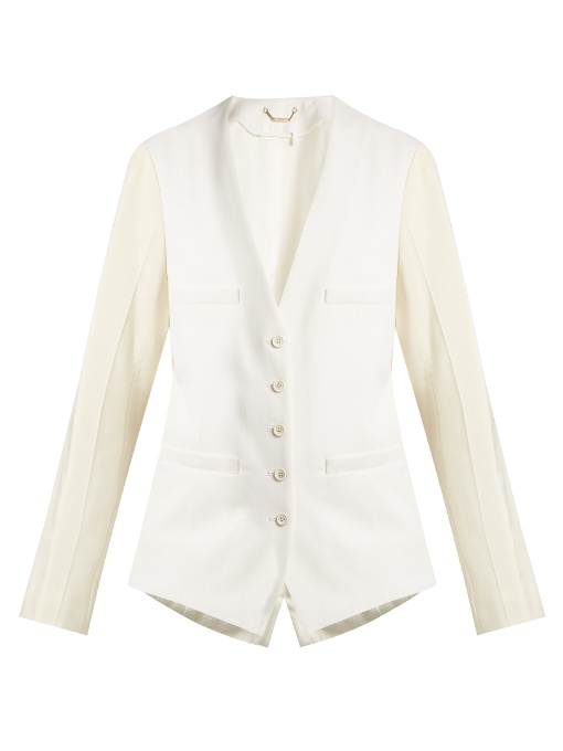ChloÉ Collarless Wool-Blend Single-Breasted Jacket In Cream