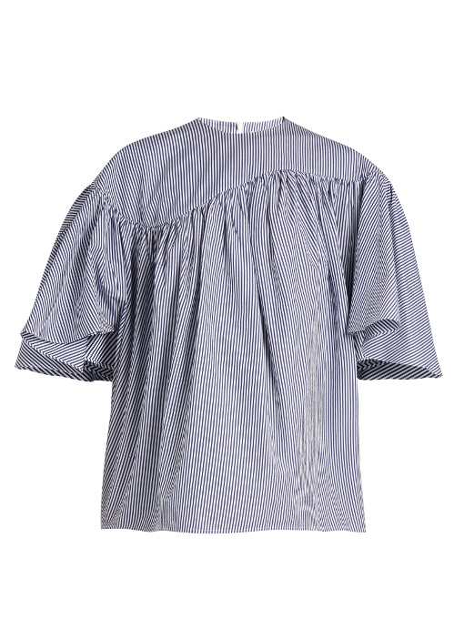 A.W.A.K.E. Striped Wing-Sleeved Cotton-Poplin Top In Blue Stripe