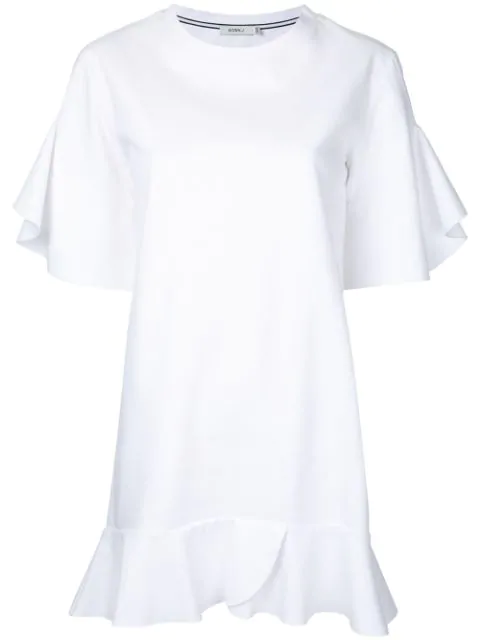Goen J Ruffle Trim Dress In White