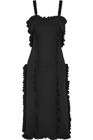 Paskal Woman Ruffle-trimmed Stretch-crepe Dress Black
