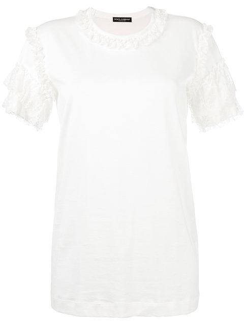 Dolce & Gabbana Lace Sleeve T-Shirt