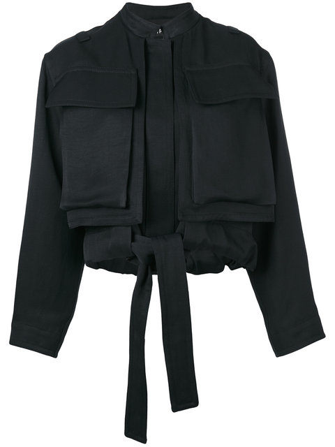 Tom Ford Cropped Pocketed Jacket In Black