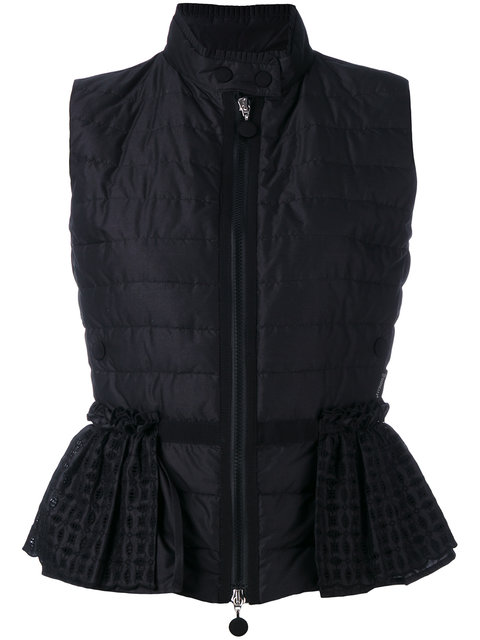 Moncler Valensole Broderie Anglaise-Trimmed Quilted Cotton Down Gilet In Black