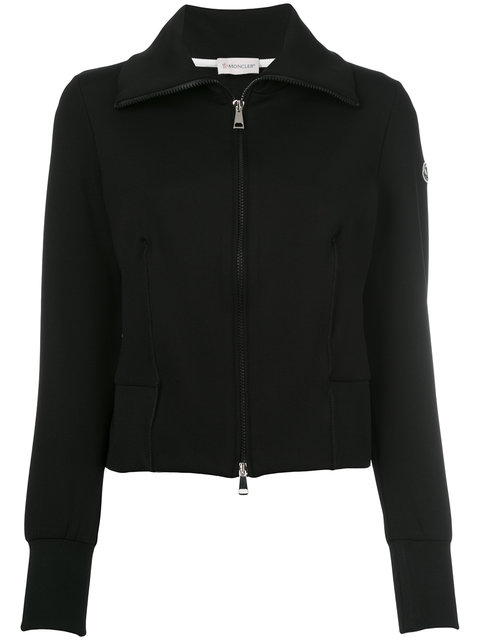 Moncler Stretch Jersey Zip-Front Cardigan, Black, Black Pattern