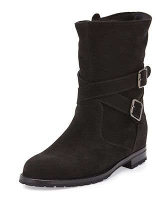Manolo Blahnik Campocross Belted Mid-Calf Boot With Shearling, Black In Black Suede