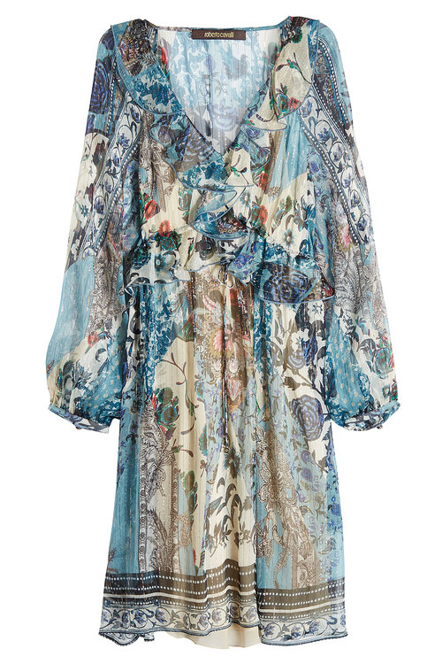 Roberto Cavalli Printed Silk Chiffon Dress In Blue